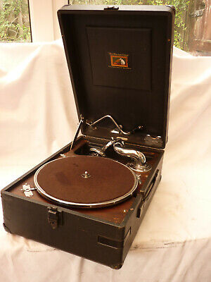 78 rpm vinyl phonograph Round Gramophone With Brass Horn ~ Record Player