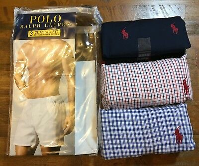POLO RALPH LAUREN Classic Fit Woven Boxers 3 pack - Men's Small S NEW