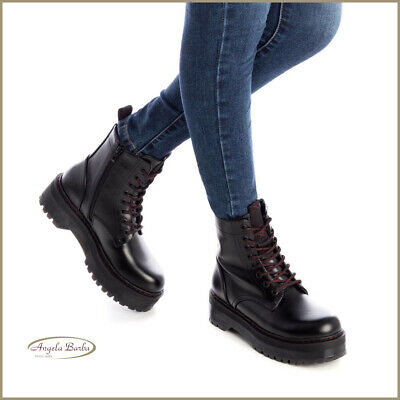 New Womens XTI Black 30515 Synthetic Boots Flats Elasticated Zip