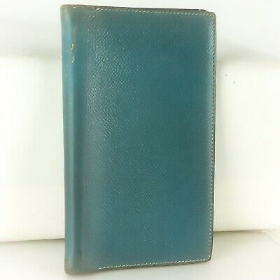 Auth HERMES AGENDA VISION Notebook Day Planner Cover Leather Light Blue