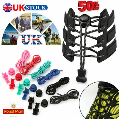 Kids Adult Adjustable No Tie Shoe Laces Elastic Shoe Strips Trainer Snickers UK