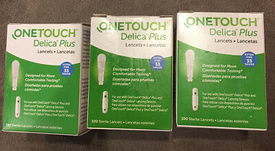 300 CT 33 GAUGE EXTRA FINE~ONE TOUCH DELICA PLUS LANCETS 1 EXP 2024 And 2 In2025
