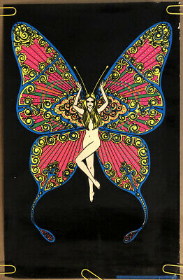 Original Vintage velvet black light poster butterfly woman psychedelic Pin Up