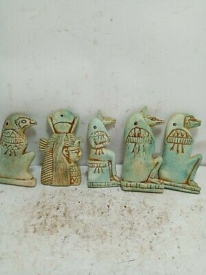 RARE ANTIQUE ANCIENT EGYPTIAN 5 Statue Amulets Protection of Graves 1580 Bc