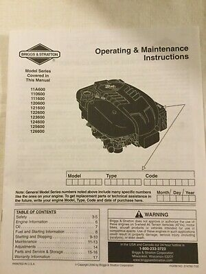 Briggs & Stratton Operating & Maintenance Instruction Manual