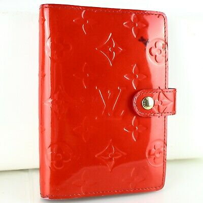 Auth LOUIS VUITTON AGENDA PM Notebook Day Planner Cover Vernis Leather R21016