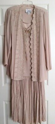 Exquisite Dress & Jacket, Mother of Bride or Fancy Occasion, Size 14, Beige
