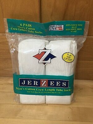 Vintage Jerzees Men's Cotton Crew Length Tube Socks White 6 Pair Size 6.5-12 NEW