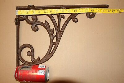 Huge Victorian Swirl Cast Iron Shelf Brackets, 15 7/8 inch by 12 inch, B-85