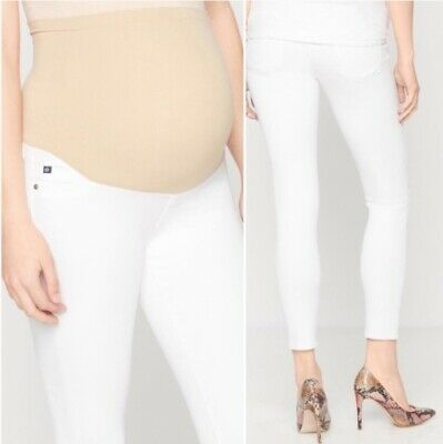Adriano Goldschmied Women White Maternity Skinny Ankle Jeggings NWT NEW
