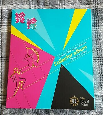 2012 Olympic 50p Uncirculated Full Set Album + Completer Medal In Blister Packs