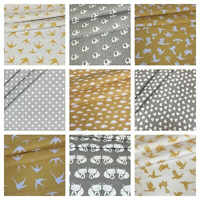 GREY OCHRE YELLOW 100% COTTON FABRIC SOLD BY BIG FAT QUARTER 50x80cm FACE MASKS