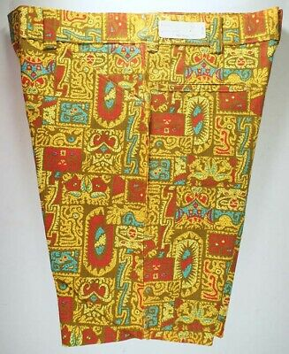 Vintage 70s 33 Aztec Pacific Yellow Mens Cotton Shorts Beach Med Deadstock NOS