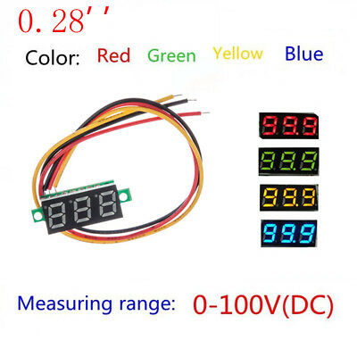 "0.28"" Mini LED DC 0-100V Voltmeter 3-Digital Display Voltage VOLT METER Motor"