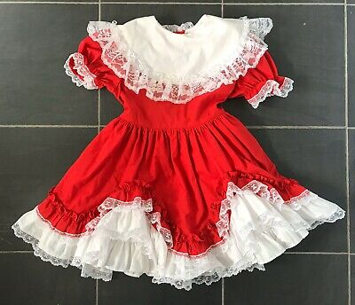 Vintage Girls Red Ruffle Frilly Lace Dress 6