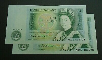 Bank of England SOMERSET UNC One Pound 2x £1 Banknotes - Consecutive Numbers AR