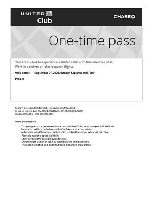 United Airlines UA Club One-Time Pass E-Delivery (Expires Sept 2021)