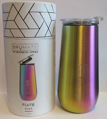 Aura Brumate Stainless Steel Insulated Champagne Flute in Rainbow Titanium