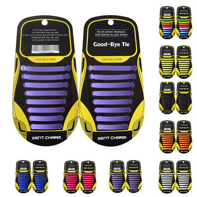Easy Lazy No Tie Elastic Silicone Shoe Laces Cool Guy Shoelaces For Kids Adults