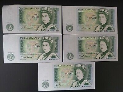GB SOMERSET £1 ONE POUND BANKNOTES - 5x CONSECUTIVE NOTES