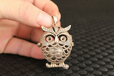 Chinese miao tibet silver handmade owl Statue netsuke lovely art decoration