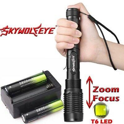 T6 LED Rechargeable High Power 900000LM Zoom Torch Flashlight Lamp +Charger .