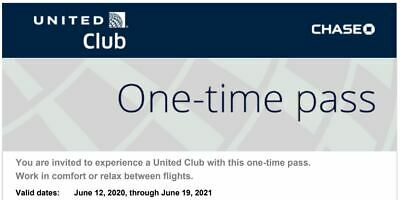 2 United Club One-Time Passes Expires June 19, 2021