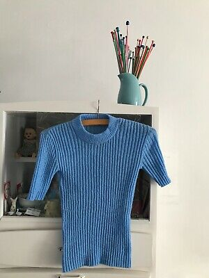Vintage 1970's Mid Blue Skinny Rib Top Size Small 8/10 Great vintage Condition