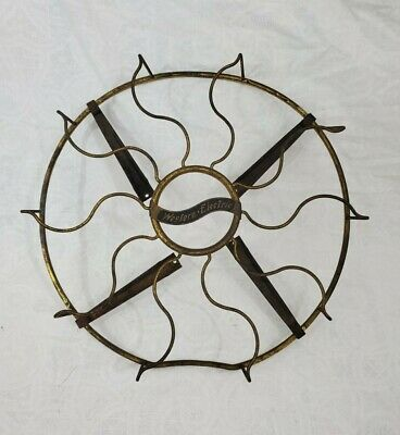 """Antique Vtg Early Western Electric 13"""" Brass Fan Blade Cage Only Rare Design"""