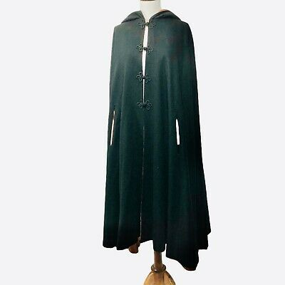 Hooded Cape Cosplay Goth Vintage Black Wool Cloak Wizard Long Maxi Halloween
