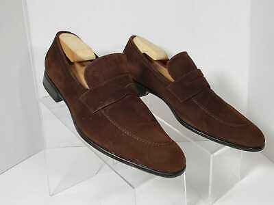 Moreschi Men's Brown Suede Dress Penny Loafers Shoes US Size 10
