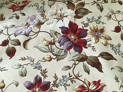 Antique Mid 19th Century French Cotton Fabric home decor Floral Purple