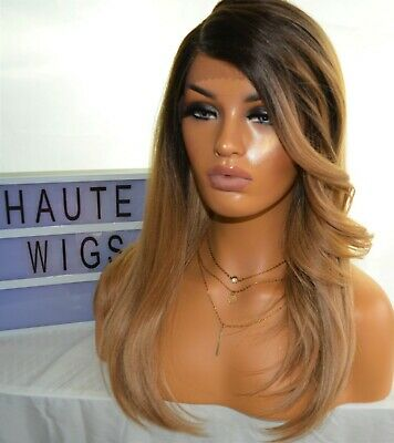 20 INCHES WIG OMBRE DARK BLONDE WAVY CURLY LAYERED LACE FRONT HUMAN HAIR blends