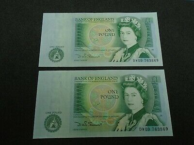 Bank of England SOMERSET UNC One Pound 2x £1 Banknotes  Consecutive Numbers DW09