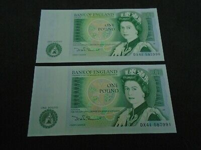 Bank of England SOMERSET UNC One Pound 2x £1 Banknotes  Consecutive Numbers DX41