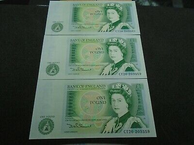 Bank of England SOMERSET UNC One Pound 3x £1 Banknotes  Consecutive Numbers CT20