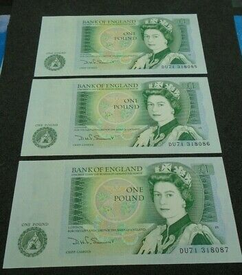 Bank of England SOMERSET UNC One Pound 3x £1 Banknotes  Consecutive Numbers DU71