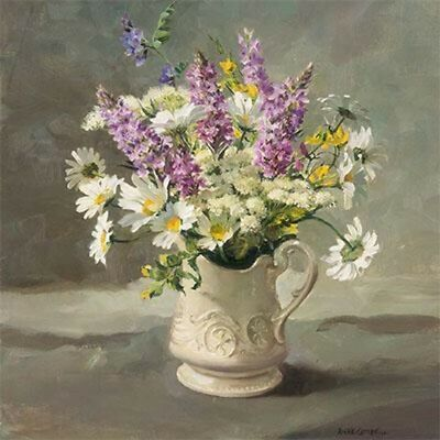 Anne Cotterill Blank Greeting// Birthday Card Foxgloves /& Daisies lg