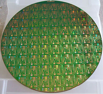 "Nice 8"" Copper IC Microchip Silicon Pattern Wafer with green background"