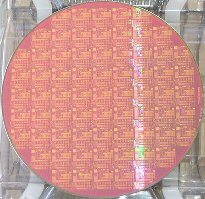 "Nice 8"" Copper IC Microchip Silicon Pattern Wafer with blue background"