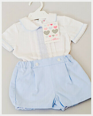 NEW BOYS OFFICIAL SPANISH WEAR LONG SLEEVED SHIRT /& TOILE JAM PANT OUTFIT 0-24 M