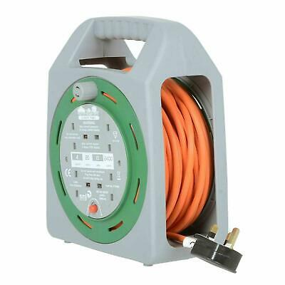New 4 Way Sockets 25m Extension Reel Lead Cable Wire Box Work Indoors Outdoor