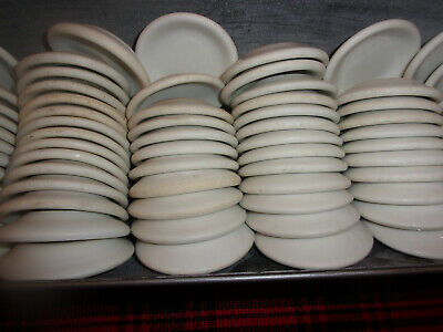 SALE lot of 50 VINTAGE WHITE FARMHOUSE RESTAURANT IRONSTONE BUTTER PATS patina