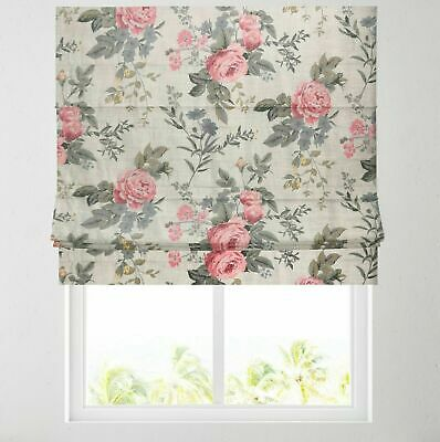 Deluxe Headrail Upgrade Available Grey Chenille Check Lined Roman Blind