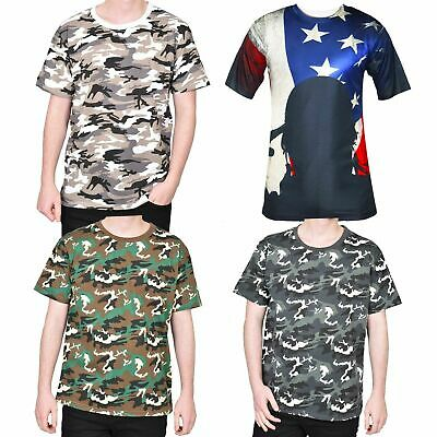 Mens Military Combat Tshirt Camouflage Top Crew Neck Short Sleeve Army Tee Shirt