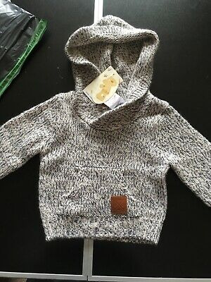 Next Baby Boys Navy Fun Kknitted Hooded Jumper Age 18-24 Months BNWT Tag £13