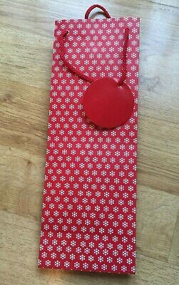 Bottle Gift Bag Red Snowflake Christmas free uk p/&p