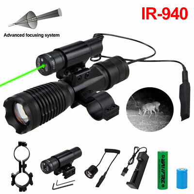 Infrared 940NM 850NM IR LED Flashlight Red Green Laser Sight Mount Combo Battery