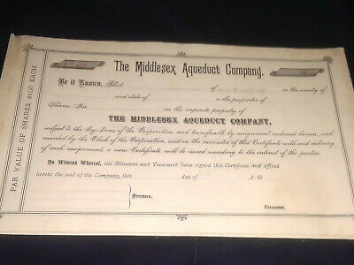 C1884 The Middlesex Aqueduct Company stock certificate Massachusetts