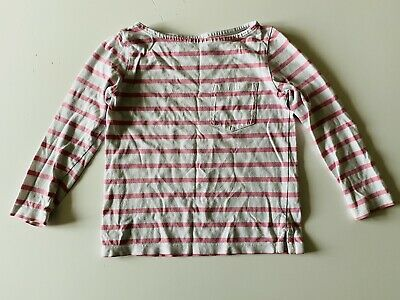 LITTLE WHITE COMPANY Pale Pink Girls Long Sleeved Top Striped Age 3-4 Years